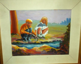 Vintage Impressionist Boy and Girl and Pond Boat/ Signed/Dated