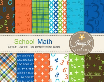 Math Digital Papers, School, Numbers, Formula for Digital Scrapbooking, invitations, Planner