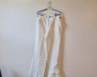 90s wide leg linen pants, J Crew, Irish linen,  trousers, oversize pants, white, medium rise, M Medium, white linen pants , 417/251