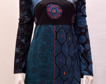 Funky Boho Patchwork abstract floral psychedelic tunic cotton dress xxl 12 14 blue