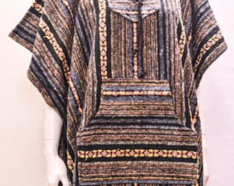 Boho Hippie Reversible Hooded Pocket Nomad Aztec Striped Poncho Freesize Grey
