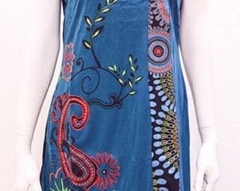 Funky Boho Patchwork Psychedelic Floral Stitch Tunic Dress Blue Size 12 14