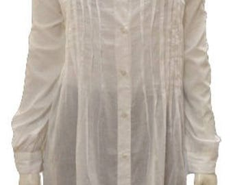 Plus size button down long sleeved collared adjustable sleeve shirt White 14 16 18