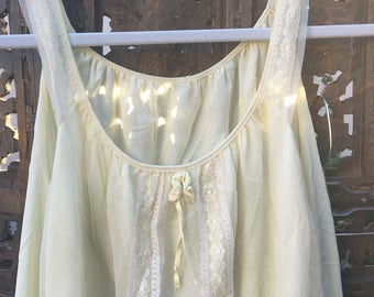 True Vintage 90s Pastel Yellow Baby Doll Night Gown