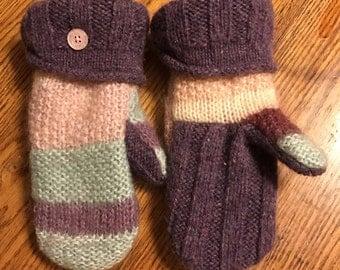 Sweater mittens/Soft and warm handmade wool sweater mittens
