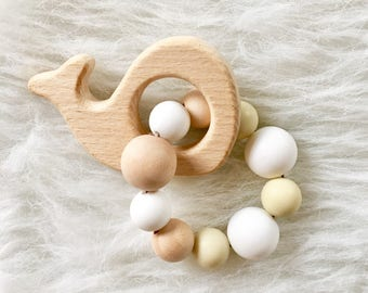 Natural Wood and Silicone Baby Teether - Whale