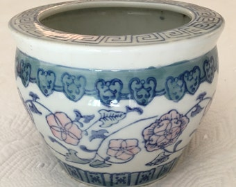 Asian Cachepot Fishbowl Asian Planter Blue and White Pink and Blue