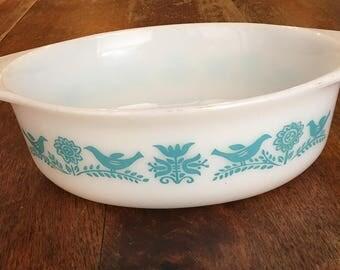 Vintage PYREX Bluebird Casserole Dish 1 1/2 QT