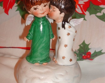 """1975 """"Moppets~Christmas Kisses"""" Musical for Christmas Figurine Music Box by Fran Mar for Gorham"""