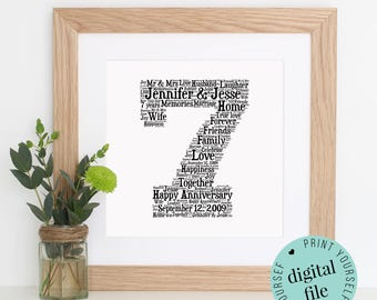 personalised 7th anniversary gift word art printable art 7 year anniversary unique
