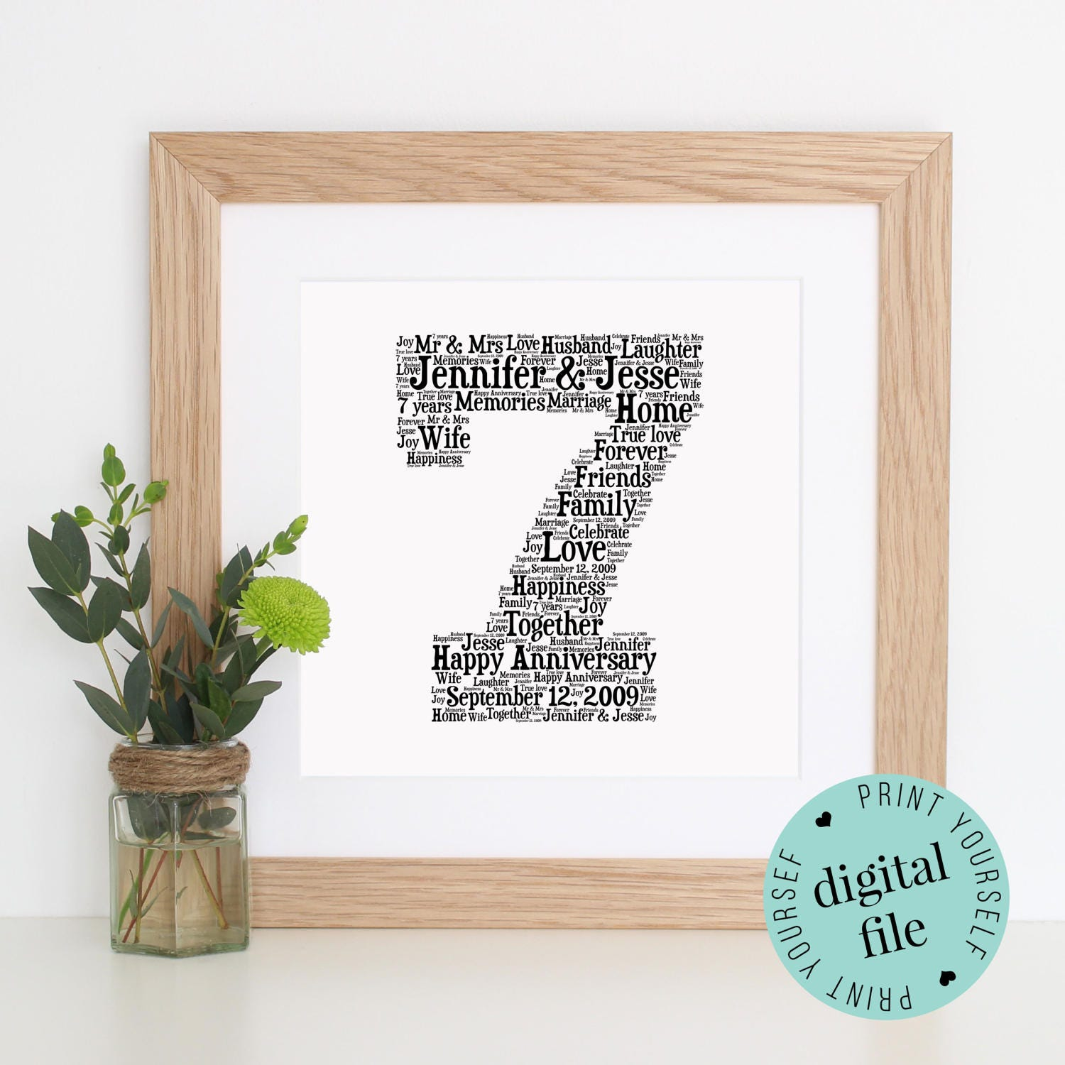 7th Wedding Anniversary Gift For Her: Personalised 7th ANNIVERSARY GIFT Word Art Printable Art
