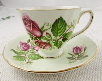 Colclough Pale Green Tea Cup and Saucer with Pink Roses, Vintage Bone China
