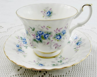 Royal Albert Tea Cup and Saucer, Blue Blossom, White with Blue Flowers, Vintage Bone China