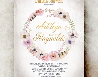 Watercolor bridal shower Invitation printable - Boho bridal shower invitation, floral bridal shower invitation, bridal shower invites