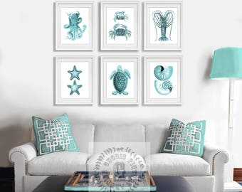 Beach Wall Art Turquoise Decor Set Of 6 Art Prints Seashells Octopus Crabs Lobster Starfish Sea