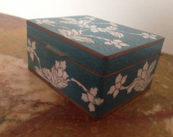 Vintage Chinese teal and white cloisonne box with copper border and hinged lid, 1940's