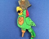 Limited Edition Pirate Parrot Litewood Brooch