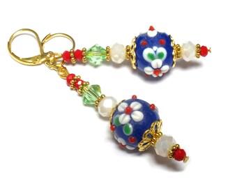 Mediterrenean style earrings, kobalt blue floral lampwork, stacked earrings