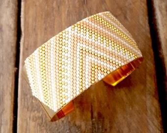 CUZCO Beige Latte gold plate CUFFLINKS