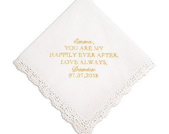 Crocheted Border Handkerchief Modern Fairy Tale Embroidery Bridal Wedding Ceremony Mother of the Groom Gift Embroidered Bridesmaid Gift