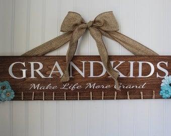 Grandkids sign, grandkids make life grand, great grandkids, grandkids wooden sign, custom wood signs, photo display, picture board