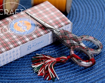 Embroidery Scissors Maison Sajou Tartan Model 027/Small Scissors/Sajou Shears/Embroidery Shears/Chenille/Beading/Knitters/French Scissors