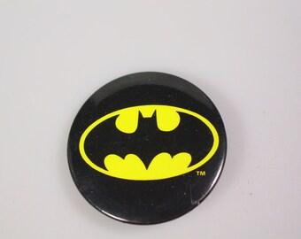 Vintage DC Comics Batman pinback button badge Vintage 1964 black yellow batman pin Adam West batman collectible Fathers day gift