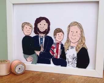 Family Group Portrait bespoke commission unique framed free motion embroidered portrait