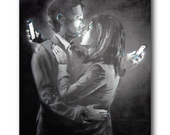 Banksy Mobile Lovers Brushed Aluminum Metal Print
