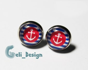 Earrings cabochon white stripes red anchor