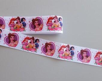 """1"""" Disney Princess Grosgrain Ribbon 1 yard Pink Princess Ribbon Belle Ariel Snow White"""