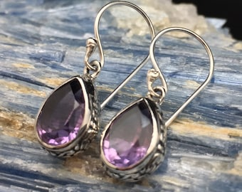 Dangly Amethyst Earrings // 925 Sterling Silver // Hypoallergenic // Teardrop Bali Setting