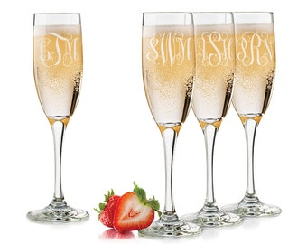 Personalized Wedding Glass, Personalized Monogram, Engraved Champagne Glass, Bridesmaid Glasses, Maid of Honor Wedding Glasses