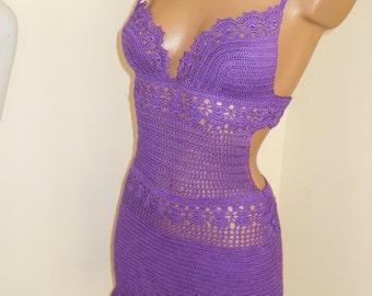 Delicate purple  lace dress, hand crocheted SIZE  36-38 EU