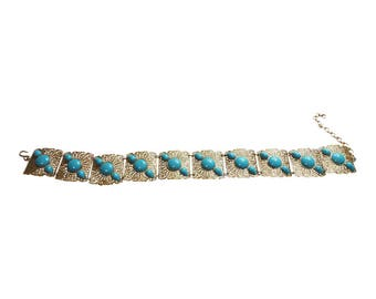 Gold Filigree Link Belt With Turquoise Trim Vintage 1980 Ladies Accessory Link Belt Gold Belt Statement Belt