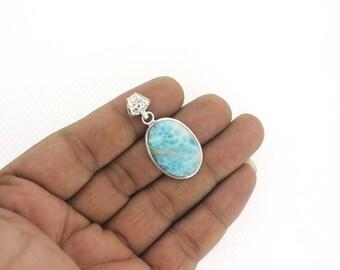 SUMMER SALE AAA Larimar And Silver, Ocean Treasure - sea blue Larimar drop, bohemian blue pear, turtleback, handmade Larimar pendant