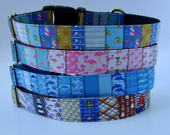 Nautical Beach Dog Collars - Ready to Ship!