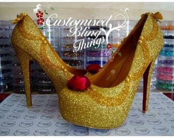 Beauty And The Beast Shoes - Glitter Heels - Wedding Shoes -  Bridal Party - Bridesmaid - Prom - Gold Glitter - Fairytale Theme - UK Size3-8
