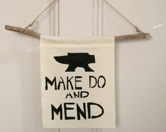 WW2 Make Do and Mend Anvil Wall Hanging Banner