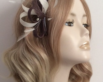 TAUPE and IVORY Fascinator, Made of Sinamay, stripped hackle feathers, Three pearl domes, on a comb