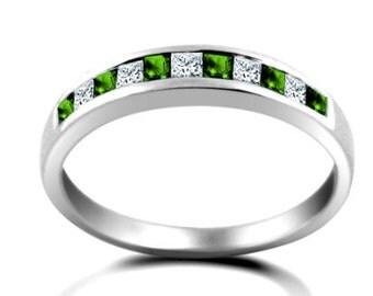 18ct White Gold Diamond And Emerald Princess Cut Half Eternity Ring