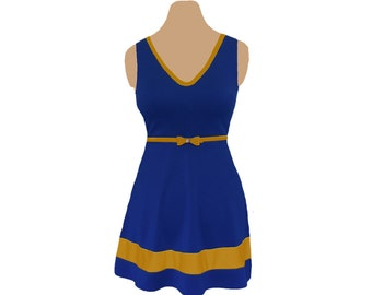 Blue or Navy + Gold Skater Dress