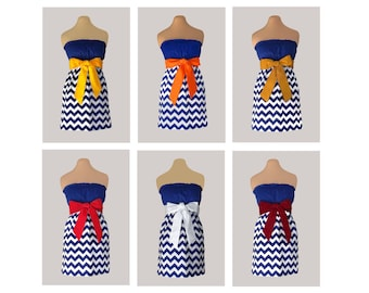 Pack of 6 Navy Chevron Dresses - Any Combination of Sash Colors