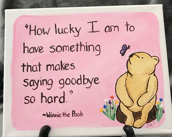 classic winnie the pooh saying goodbye pooh graduation gift pooh going away pooh leaving home pooh going to college gift 8x10 stretch canvas