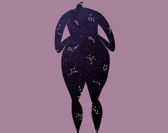 She Was Formed From Constellations - Square Print - Illustration - Graphic Design -Art