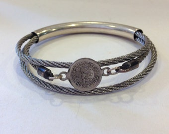 Vintage Sterling silver stainless steel old coin bracelet made in Israel Sancti Martini coin assemblage