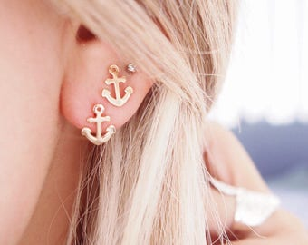 Plate ink Navy earrings - gold 750 / gold plated earrings