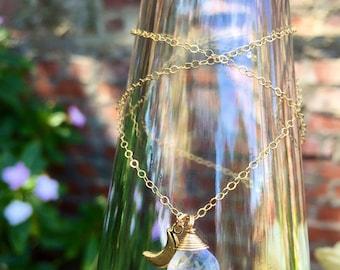 """Moonstone x Luna Charm Necklace/14K Gold Filled/ 18"""""""