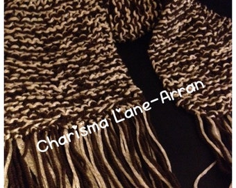 Hand Knitted Brown & Cream Fringed Scarf