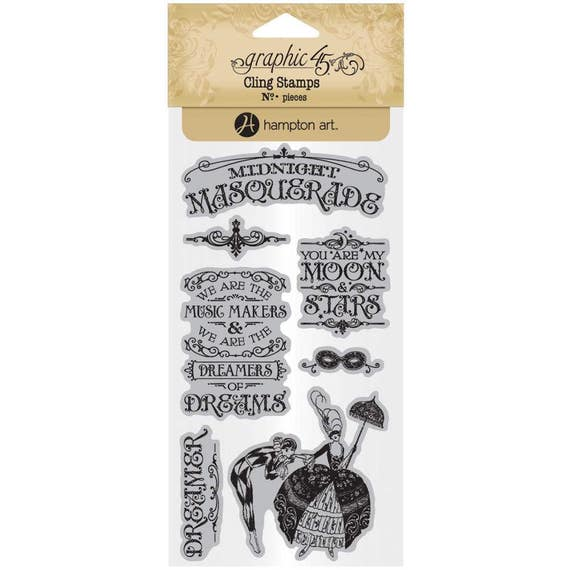 NEW! Graphic 45 Midnight Masquerade Stamps 1, SC007720